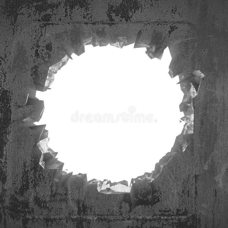 Furo quebrado rachado escuro no muro de cimento Fundo do Grunge imagens de stock royalty free