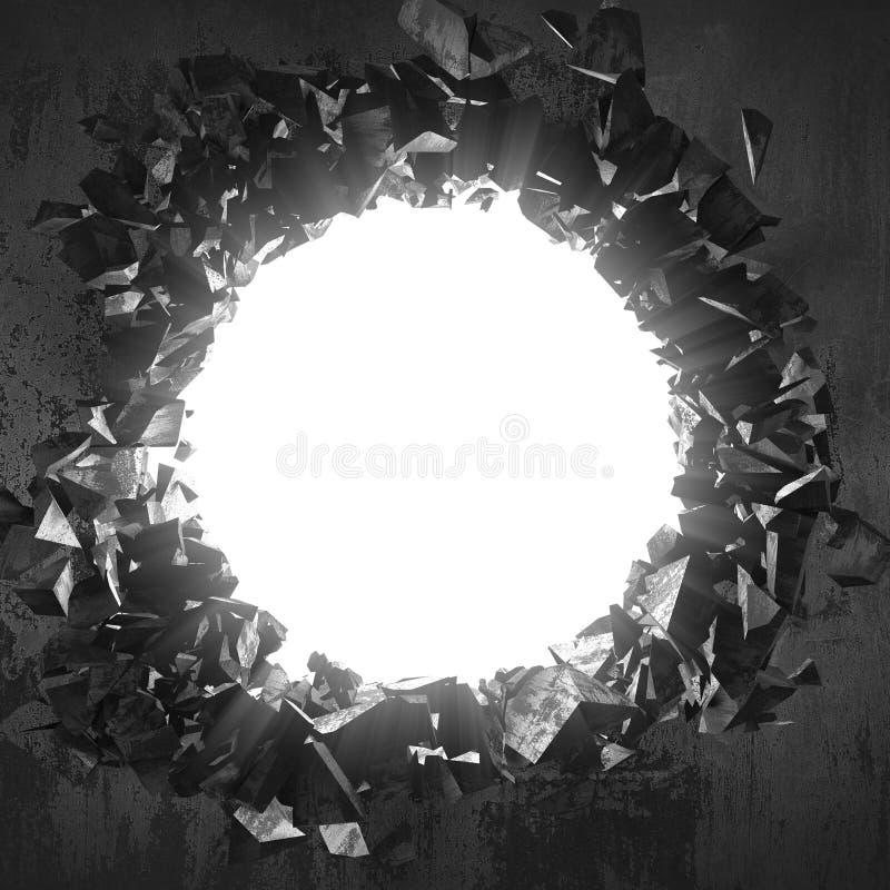 Furo quebrado rachado escuro no muro de cimento Fundo do Grunge imagens de stock
