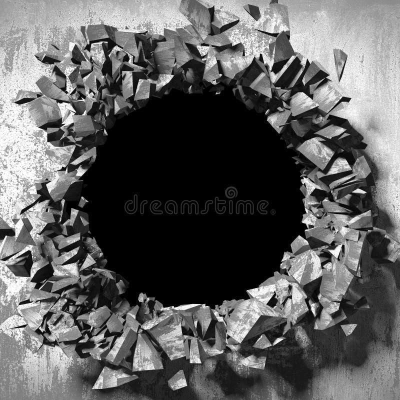 Furo quebrado rachado escuro no muro de cimento Fundo do Grunge imagem de stock royalty free
