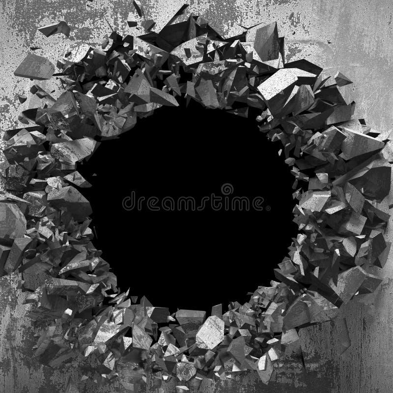 Furo quebrado rachado escuro no muro de cimento Fundo do Grunge foto de stock royalty free