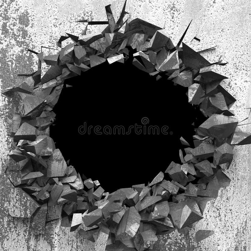 Furo quebrado rachado escuro no muro de cimento Fundo do Grunge fotos de stock