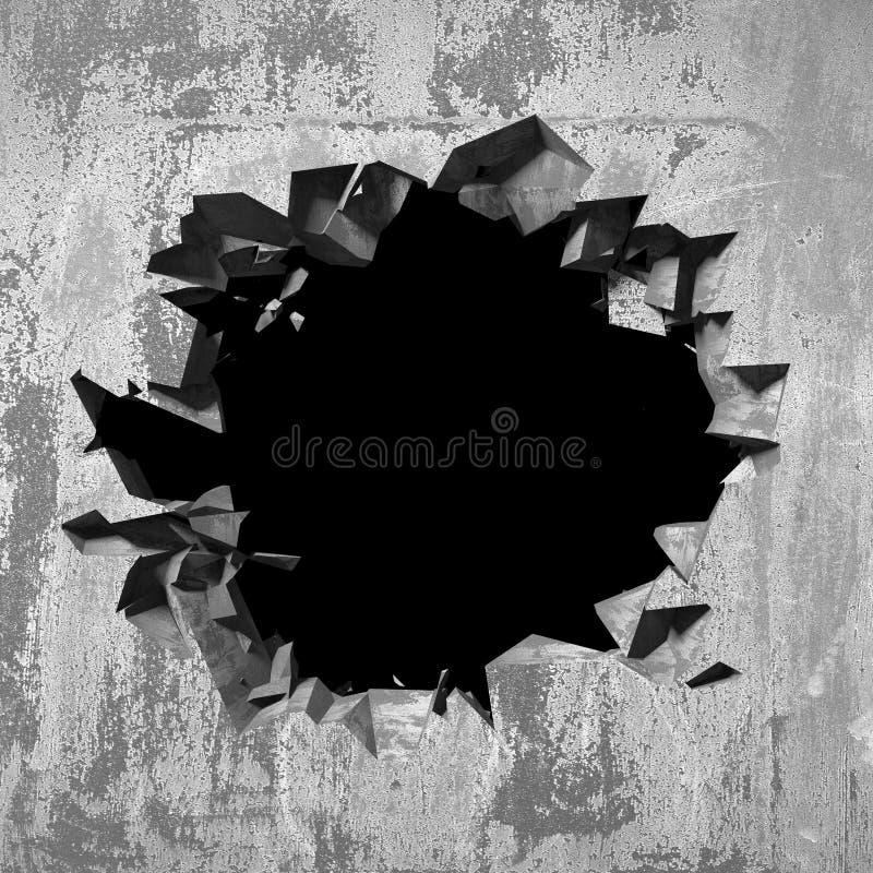 Furo quebrado rachado escuro no muro de cimento Fundo do Grunge fotografia de stock royalty free