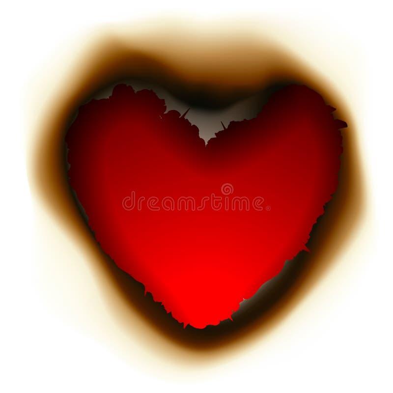 Furo queimado na forma do coração ilustração do vetor
