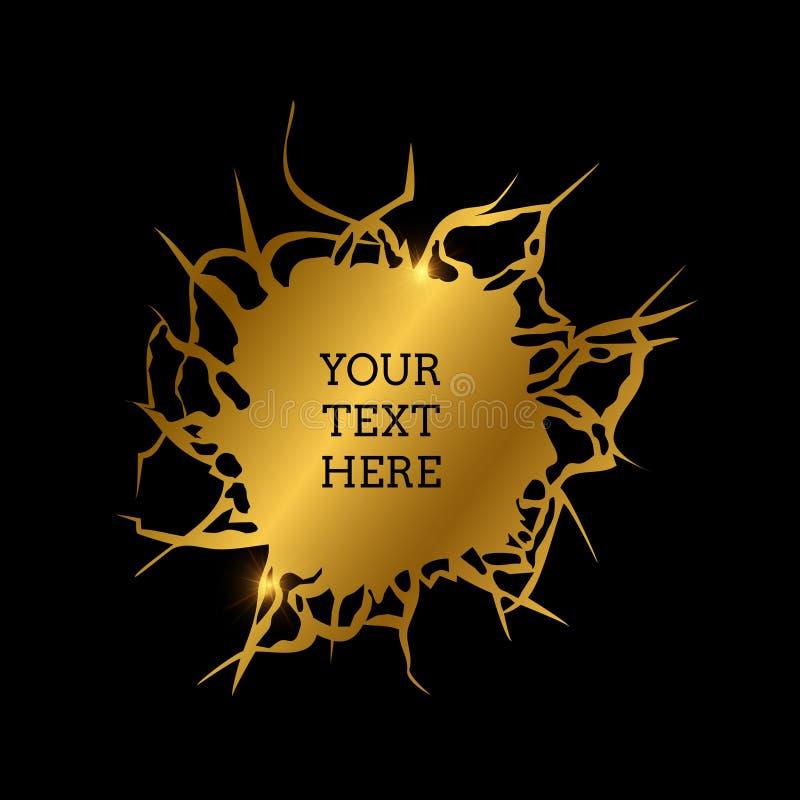 Furo rachado dourado abstrato ilustração stock
