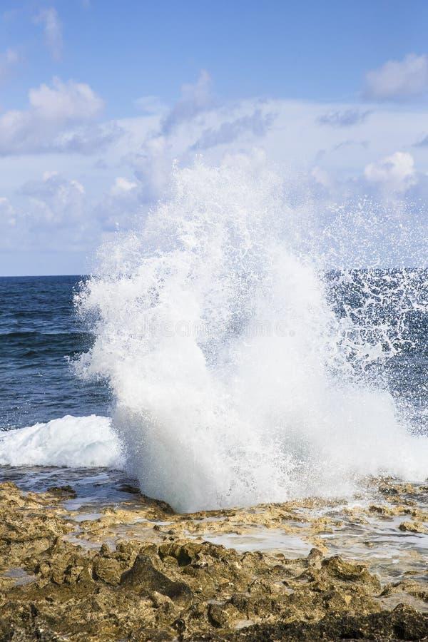 Furo vertical do sopro na ilha de Grand Cayman com pulverizador de mar imagens de stock