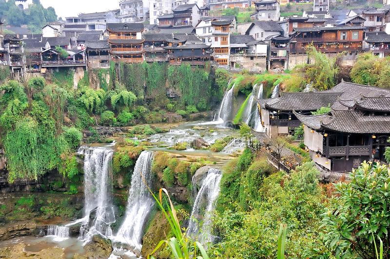 Furong Ancient Town, Hibiscus Town with the great waterfall in Xiangxi Hunan, China stock photos