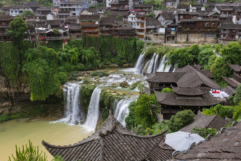 Furong, China - May 29, 2018: Furong ancient village and waterfall in Hunan stock image