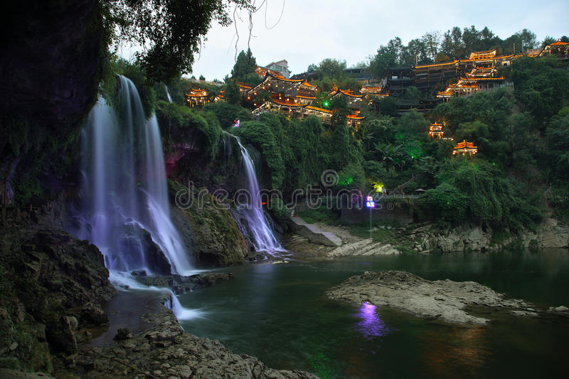 Furong (Hibiscus) ancient village at night stock photography