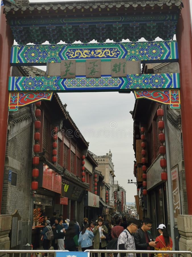 Furongstraat @ Jinan Shandong China stock foto