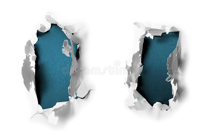 Furos de papel da descoberta imagem de stock