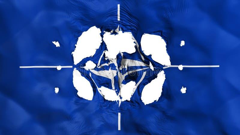 Furos na bandeira da OTAN ilustração do vetor