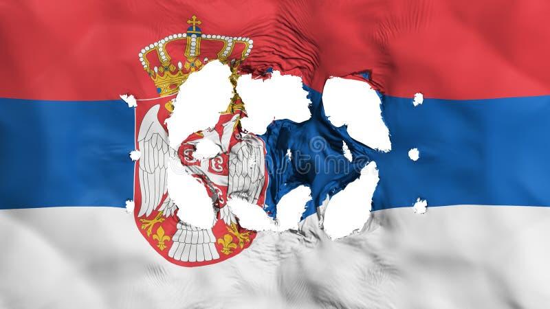 Furos na bandeira da Sérvia ilustração do vetor