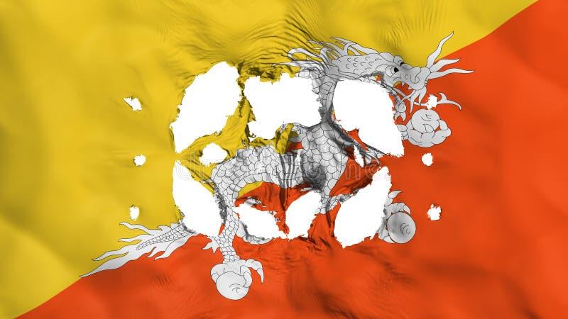 Furos na bandeira de Butão ilustração do vetor