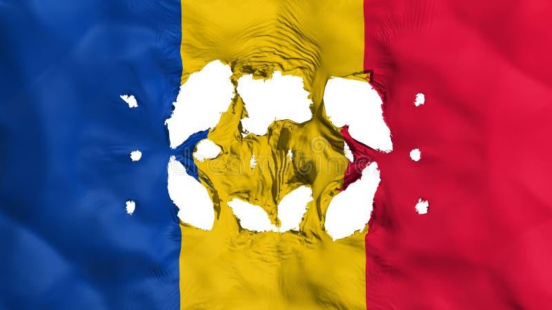 Furos na bandeira de Chade ilustração royalty free
