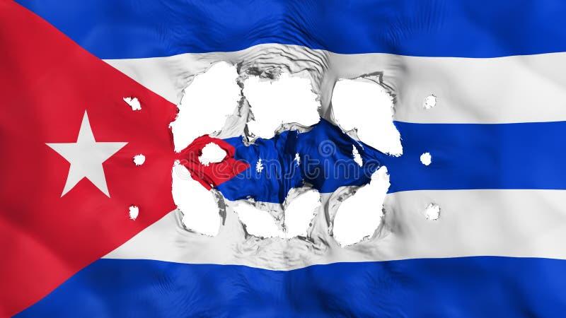 Furos na bandeira de Cuba ilustração do vetor
