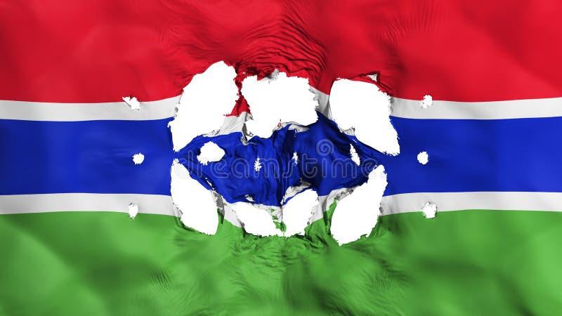 Furos na bandeira de Gâmbia ilustração royalty free