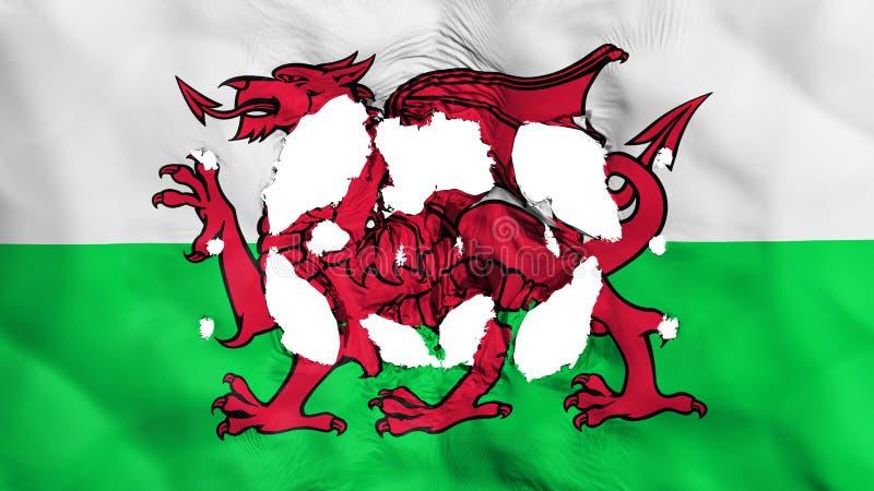 Furos na bandeira de Gales ilustração stock