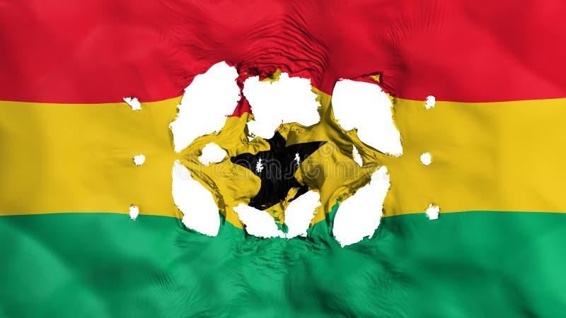 Furos na bandeira de Gana ilustração stock