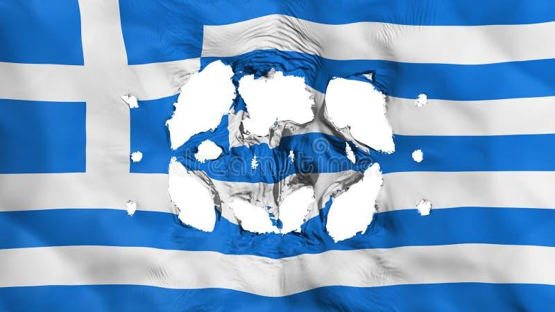 Furos na bandeira de Grécia ilustração do vetor