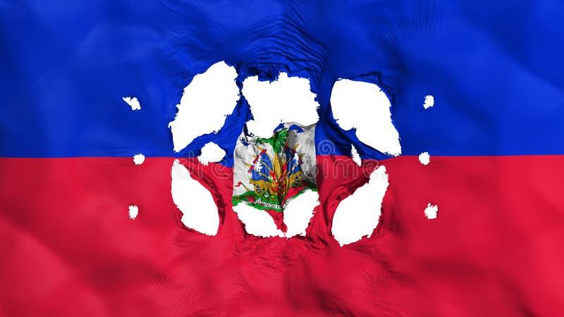 Furos na bandeira de Haiti ilustração do vetor