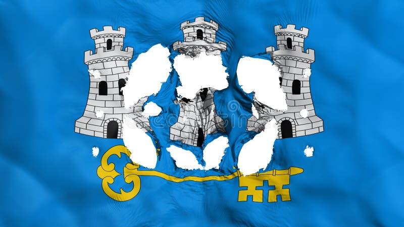 Furos na bandeira de Havana ilustração stock