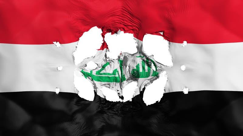 Furos na bandeira de Iraque ilustração do vetor