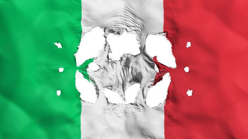 Furos na bandeira de Itália ilustração stock