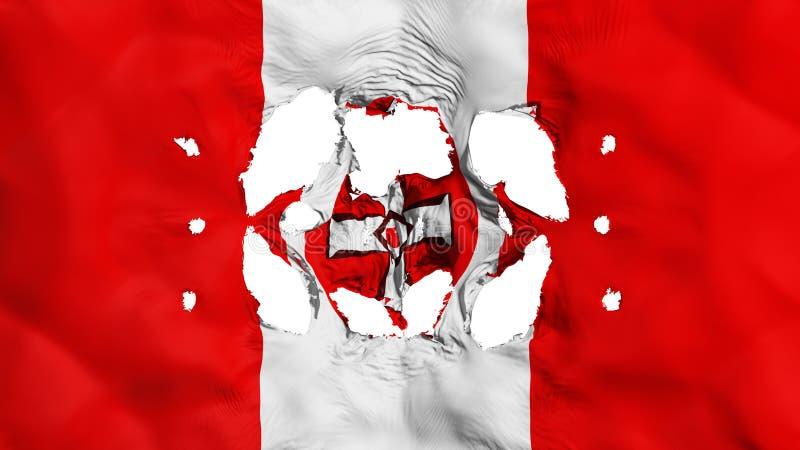 Furos na bandeira de KKK ilustração do vetor