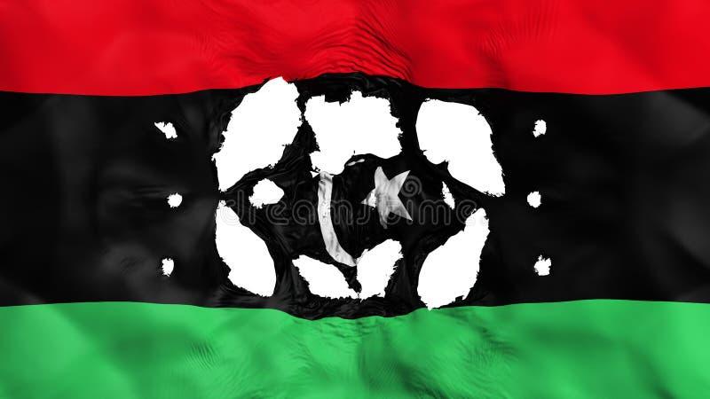 Furos na bandeira de Líbia ilustração stock