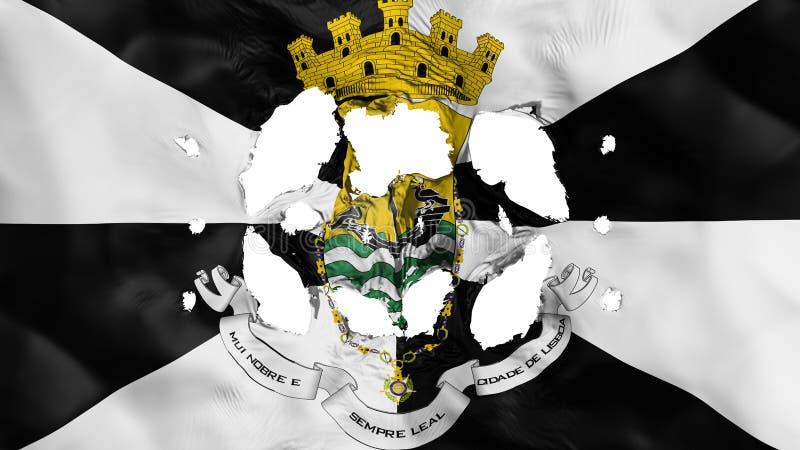 Furos na bandeira de Lisboa ilustração stock
