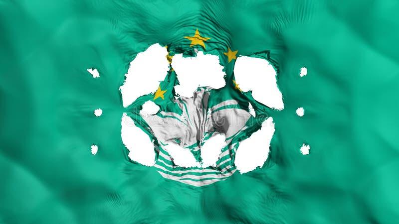 Furos na bandeira de Macau ilustração do vetor