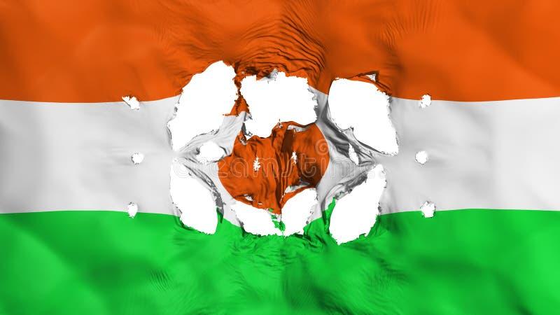 Furos na bandeira de Niger ilustração royalty free