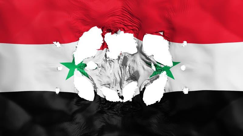 Furos na bandeira de Síria ilustração royalty free