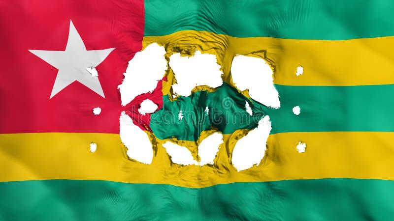 Furos na bandeira de Togo ilustração stock