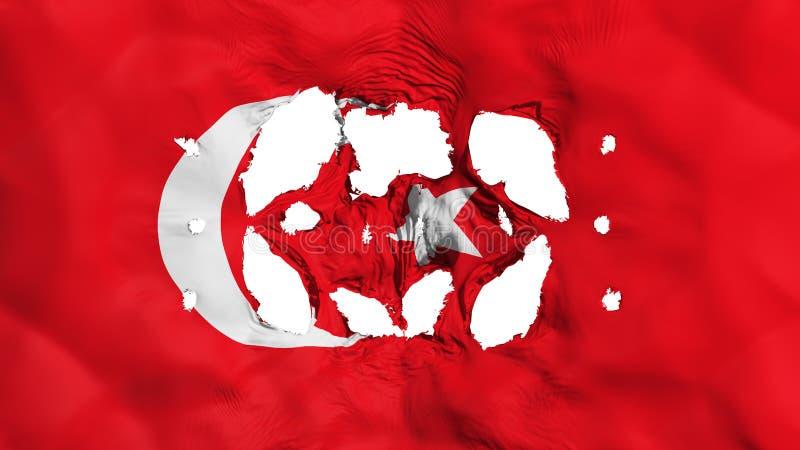 Furos na bandeira de Turquia ilustração stock