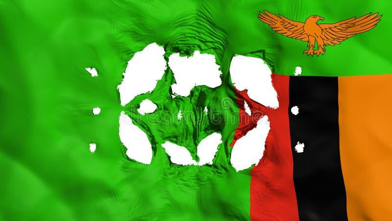 Furos na bandeira de Zâmbia ilustração stock
