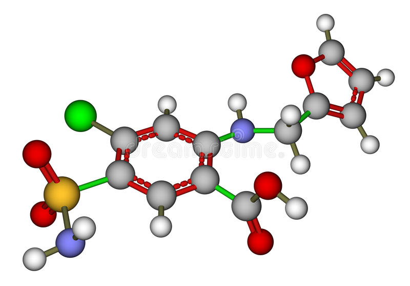 Download Furosemide Molecular Structure Stock Illustration - Illustration of frusemide, background: 22748232