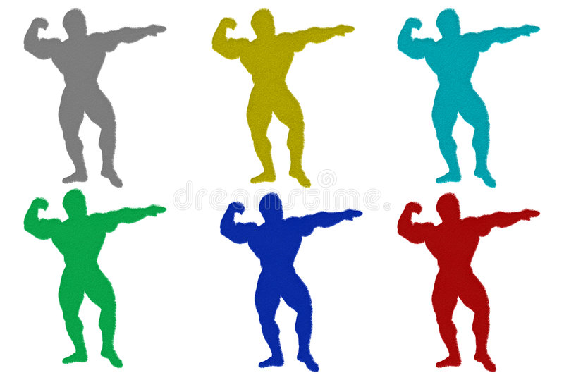 Furry Body Builder Silhouettes royalty free illustration