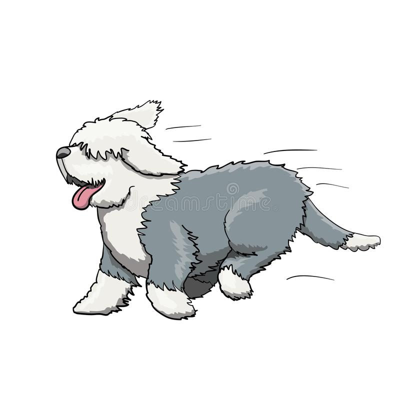 Furry English Bobtail Dog Cartoon Character Running stock illustration