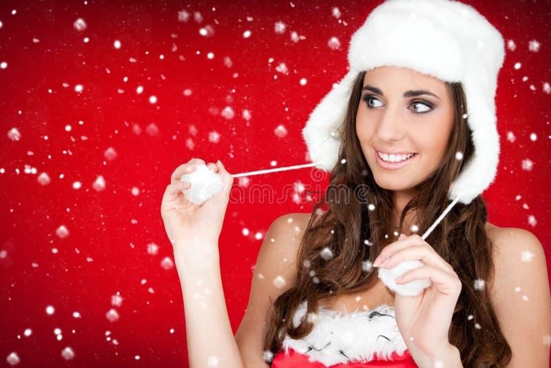 furry kvinna för white för hattsanta snow arkivfoton