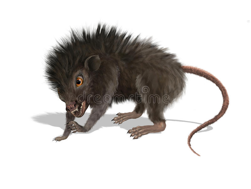 Furry Mutant Rat. Digitally painted 3d render of a creepy mutant rat stock illustration