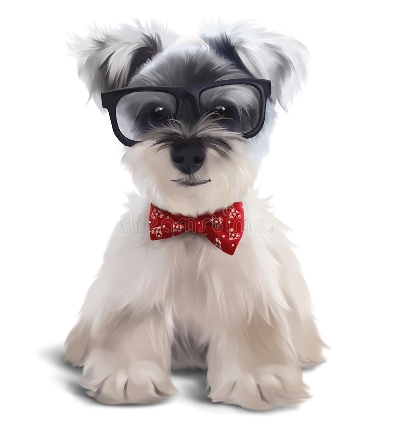 Furry Terrier with glasses and bow tie royalty free stock images