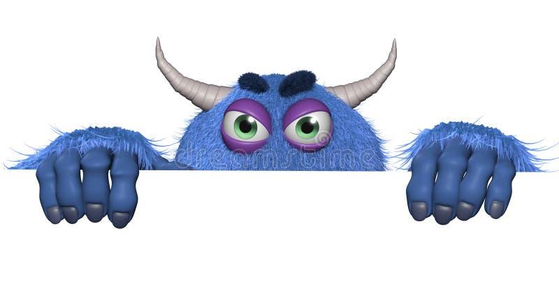 Furry toymonster för tecknad film stock illustrationer