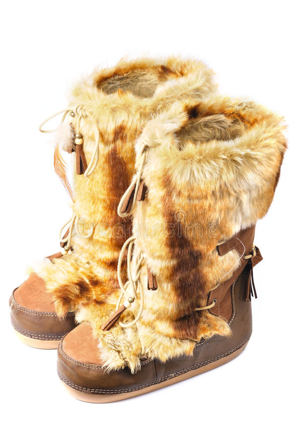 Furry Winter Boots Stock Photo