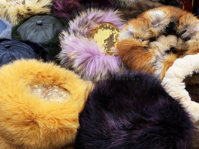 Furry winter hats stock images