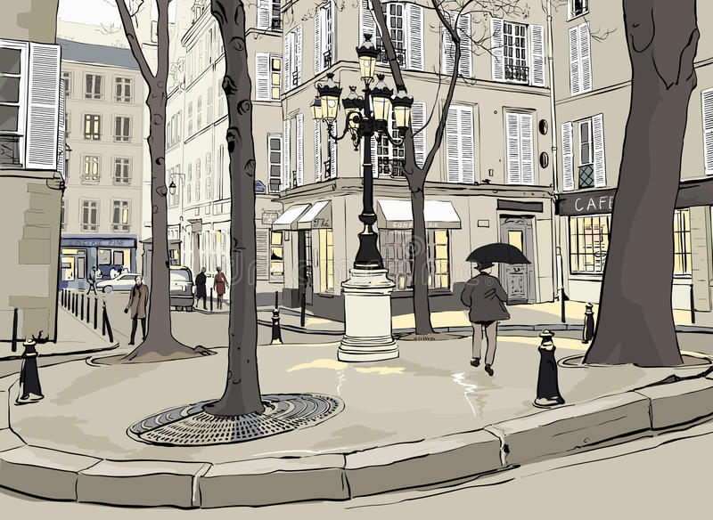 Furstemberg square in paris stock illustration
