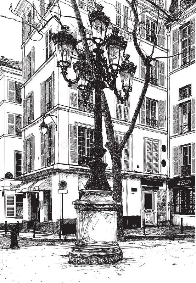 Furstemberg square in paris stock illustration