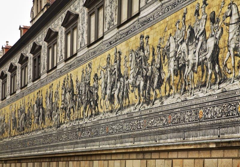Furstenzug (Optocht van Prinsen) in Dresden duitsland royalty-vrije stock afbeelding