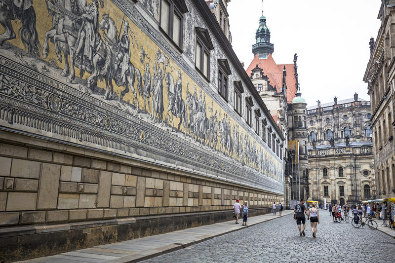 Furstenzug (Procession of Princes) is a giant mural decorates the wall royalty free stock image