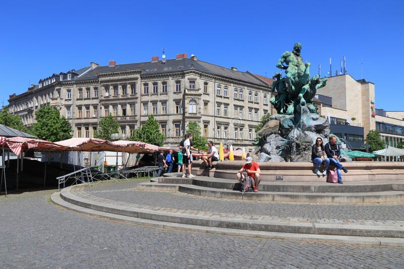 Furth, Germany. MAY 6, 2018: People visit Bahnhofsplatz (Station Square) in . It is a major town in Middle Franconia, more than 1000 years old royalty free stock photo
